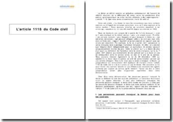 L'article 1118 du Code civil : l'invocation de la lésion