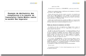 Exemple de déclinatoire des compétences à la requête de l'association Cache-Misère contre la société Rex Imperator