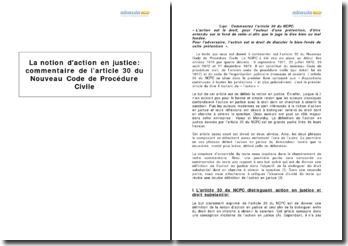 La notion d'action en justice : l'article 30 du Nouveau Code de Procédure Civile