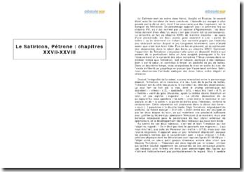 Le Satiricon, Pétrone - chapitres XXVII-XXVIII