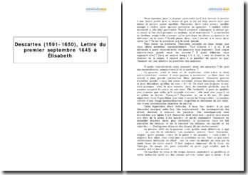 Descartes (1591-1650), Lettre du premier septembre 1645 à Elisabeth