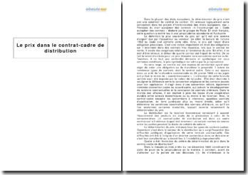Le prix dans le contrat-cadre de distribution et les arrêts du 1er décembre 1995