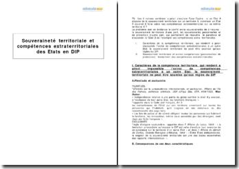 Souveraineté territoriale et compétences extra-territoriales des Etats