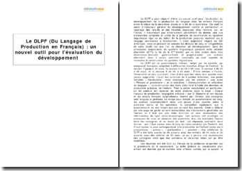 Le DLPF (du langage de production en français) : un nouvel outil pour l'évaluation du développement linguistique de l'enfant