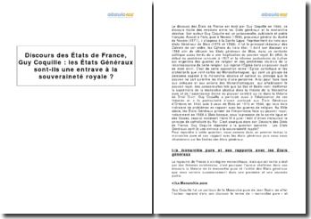 Discours des États de France, Guy Coquille (1588) : les États Généraux sont-ils une entrave à la souveraineté royale ?