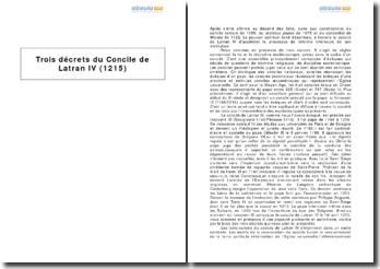 Trois décrets du Concile de Latran IV (1215)
