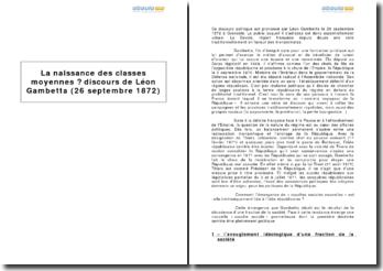 La naissance des classes moyennes, discours de Léon Gambetta (26 septembre 1872)