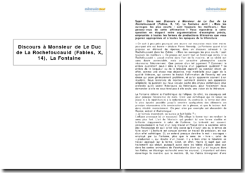 Discours à Monsieur de Le Duc de La Rochefoucauld (Fables, X, 14), La Fontaine
