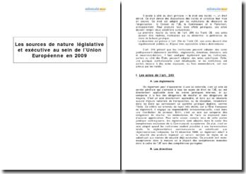 Les sources de nature législative et exécutive au sein de l'Union européenne