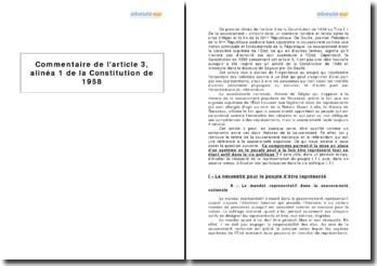 Article 3, alinéa 1 de la Constitution de 1958 - la souveraineté nationale