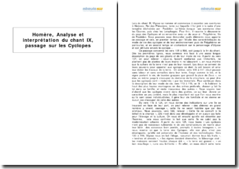 Analyse et interprétation du chant IX de l'Odyssée d'Homère, passage sur les Cyclopes
