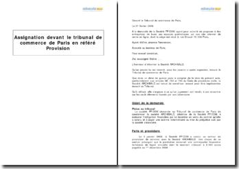 Modèle d'assignation devant le tribunal de commerce de Paris en référé provision