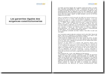 Les garanties légales des exigences constitutionnelles (GLEC)