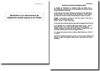 Résiliation d'un abonnement de téléphonie mobile depuis la loi Châtel