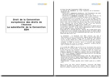 La subsidiarité de la Convention européenne des droits de l'Homme