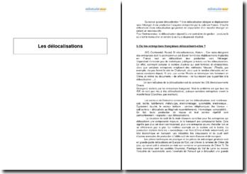 Les délocalisations - cas des entreprises françaises et conséquences sociales