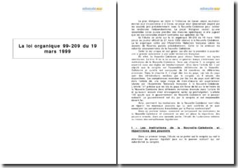La loi organique 99-209 du 19 mars 1999