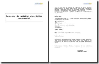 Demande de radiation d'un fichier commercial