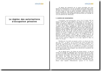 Le régime des autorisations d'occupation privative
