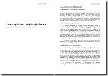 L'expropriation : règles générales