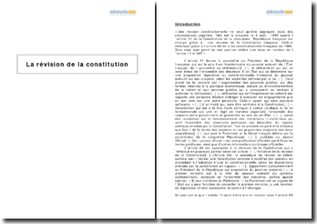 La révision de la Constitution - les articles 11 et 89
