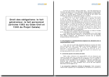 Droit des obligations : le fait générateur, le fait personnel, d'après les articles 1382 du Code Civil et 1340 du Projet Catala
