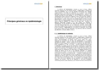 Principes généraux en épidémiologie