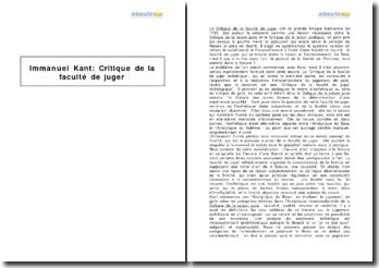 Critique de la faculté de juger, Analytique du beau, paragraphes 1 à 9, d'Emmanuel Kant