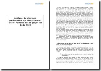 Discours préliminaire de Jean-Etienne-Marie Portalis sur le projet de Code Civil