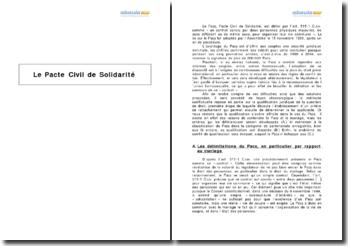 Le Pacte Civil de Solidarité (Pacs) et sa qualification