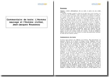 L'Homme sauvage et l'Homme civilisé, Jean-Jacques Rousseau