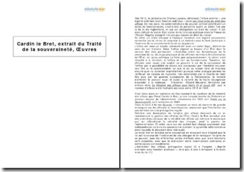 Cardin le Bret, extrait du Traité de la souveraineté, Oeuvres