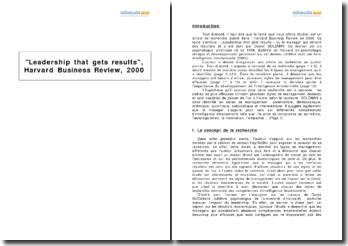 Leadership that gets results (la direction qui obtient des résultats), Harvard Business Review, 2000