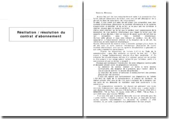 Résiliation / résolution du contrat d'abonnement