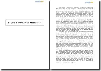 Le jeu d'entreprise Markstrat : simulation de gestion d'une entreprise et de son portefeuille de produits