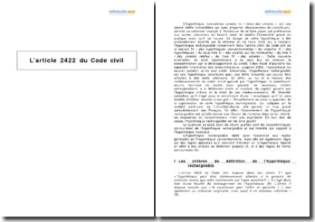 L'article 2422 du Code civil - l'hypothèque rechargeable