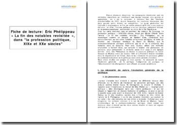 Eric Phélippeau, « La fin des notables revisitée », dans La profession politique, XIXe-XXe siècles