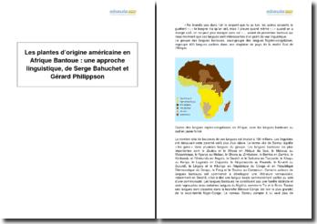 Les plantes d'origine américaine en Afrique Bantoue : une approche linguistique, de Serge Bahuchet et Gérard Philippson