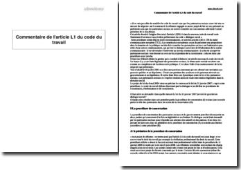 Article L1 du Code du travail - la procédure de concertation