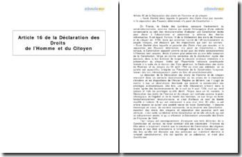 Article 16 de la Déclaration des Droits de l'Homme et du Citoyen - la liberté du citoyen comme condition consubstantielle au constitutionnalisme