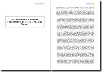 Introduction à l'éthique économique des religions, Max Weber