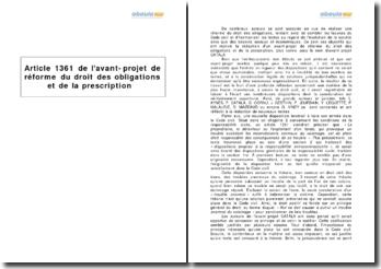Article 1361 de l'avant-projet de réforme du droit des obligations et de la prescription - les troubles du voisinage