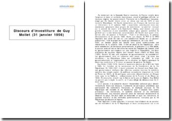 Discours d'investiture de Guy Mollet (31 janvier 1956)