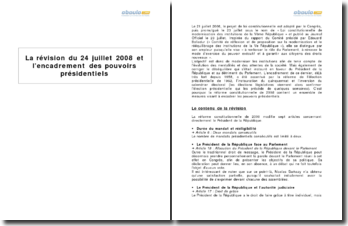 La révision du 24 juillet 2008 et l'encadrement des pouvoirs présidentiels