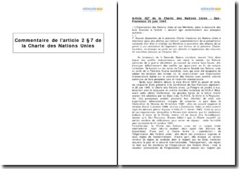 Article 2 7 de la Charte des Nations Unies - la non-ingérence