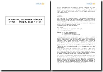 Le Parfum, Patrick Süskind : incipit, page 1 et 2