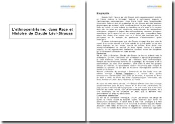 L'ethnocentrisme, dans Race et Histoire de Claude Lévi-Strauss