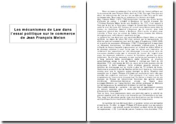 Les mécanismes de Law dans l'essai politique sur le commerce de Jean François Melon