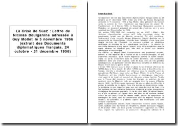 La crise de Suez : lettre de Nicolas Boulganine adressée à Guy Mollet le 5 novembre 1956 (extrait des Documents diplomatiques français)