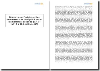 Jean-Jacques Rousseau, Discours sur l'origine et les fondements de l'inégalité parmi les hommes, seconde partie, (p. 118 à 124 édition GF)